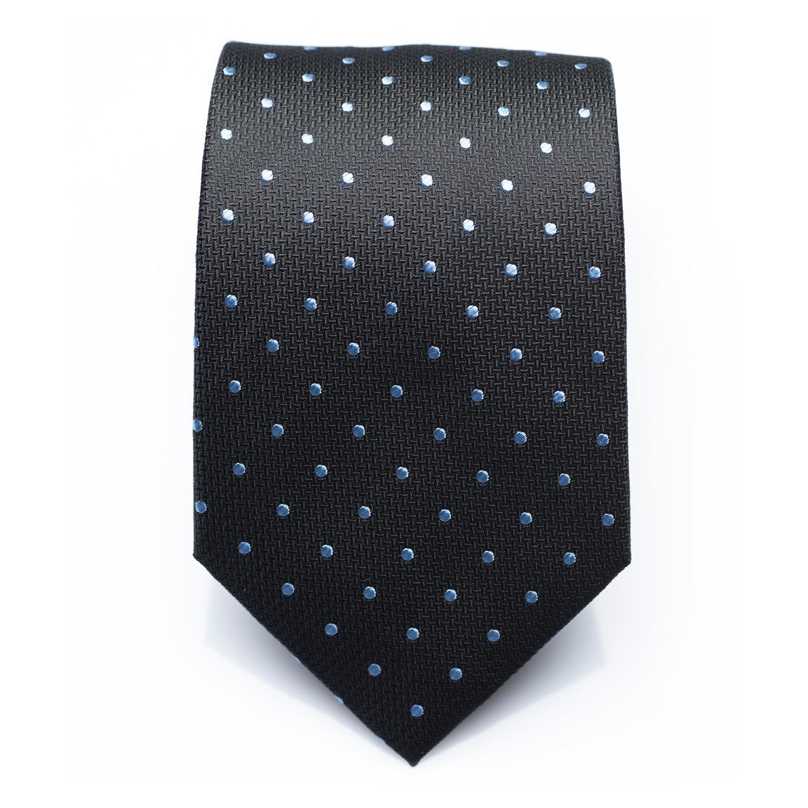 Egerton Onyx - Black/white dotted silk necktie