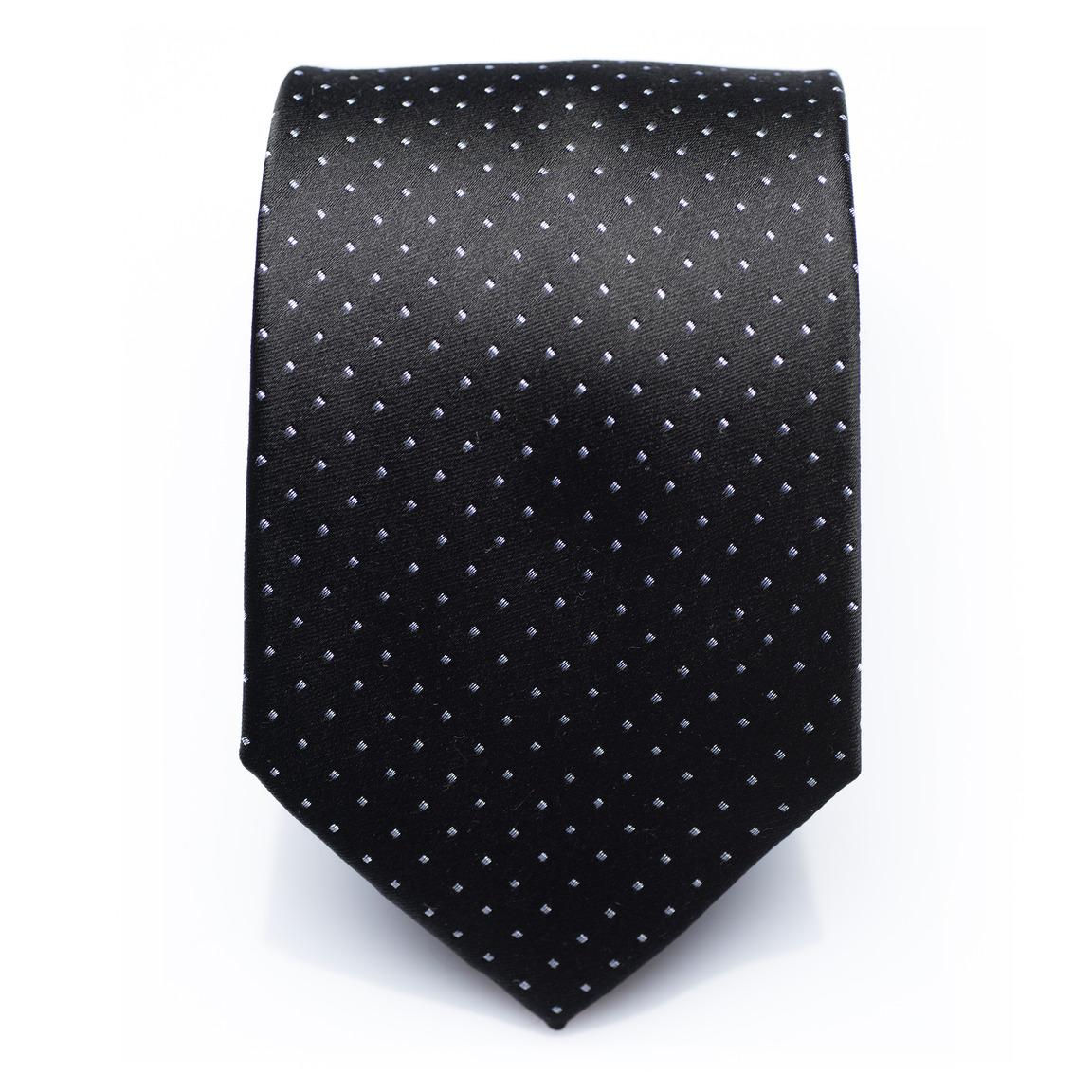 Fenwick Ink -Black/white dotted silk necktie