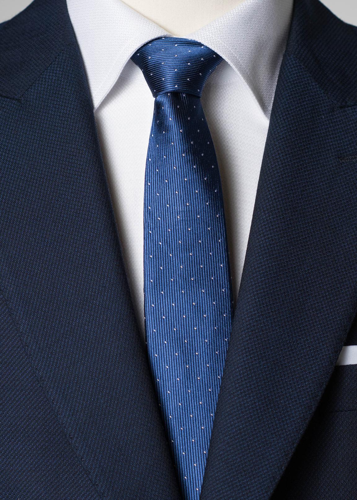 Blau gepunktete Seidenkrawatte