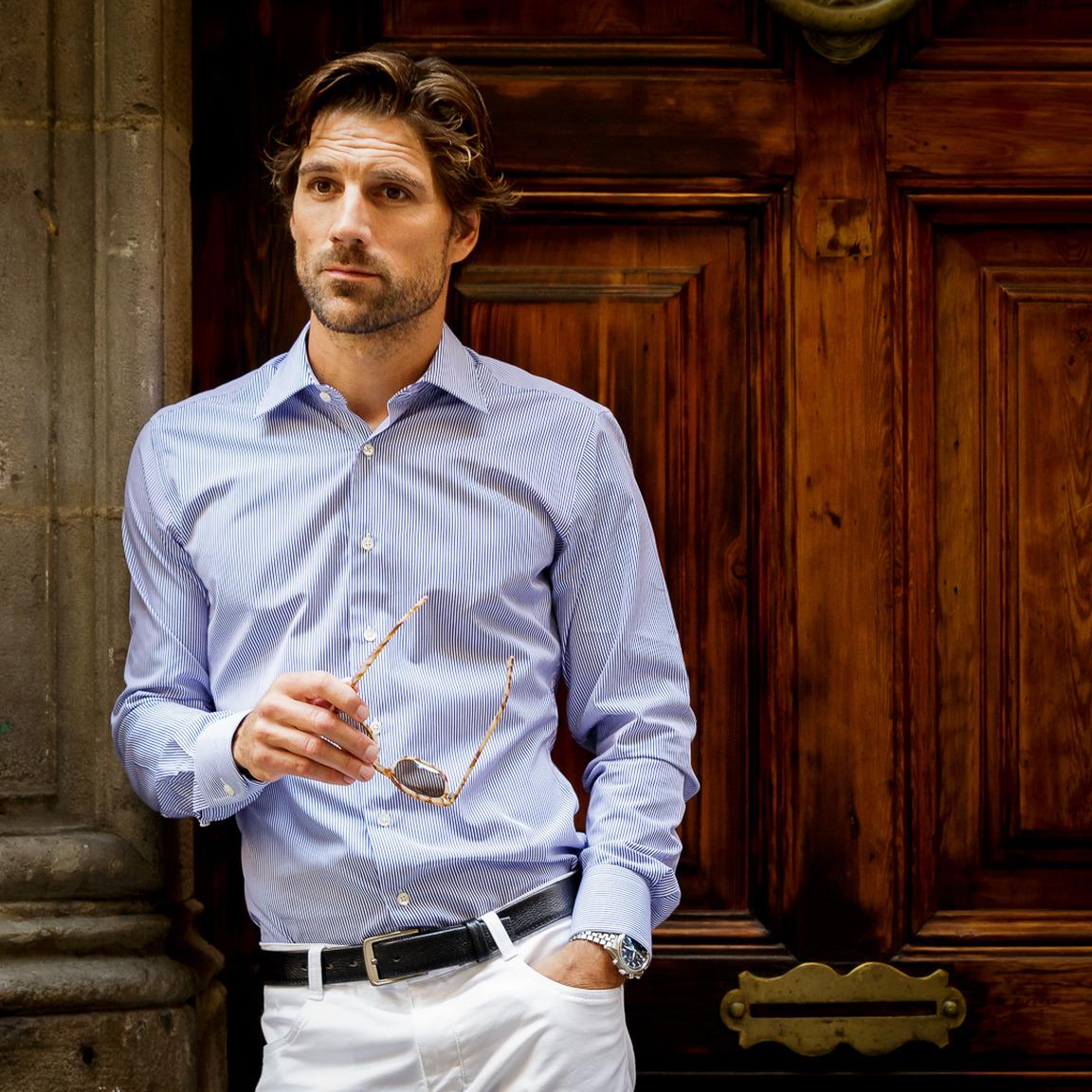 Blue/White striped poplin business shirt