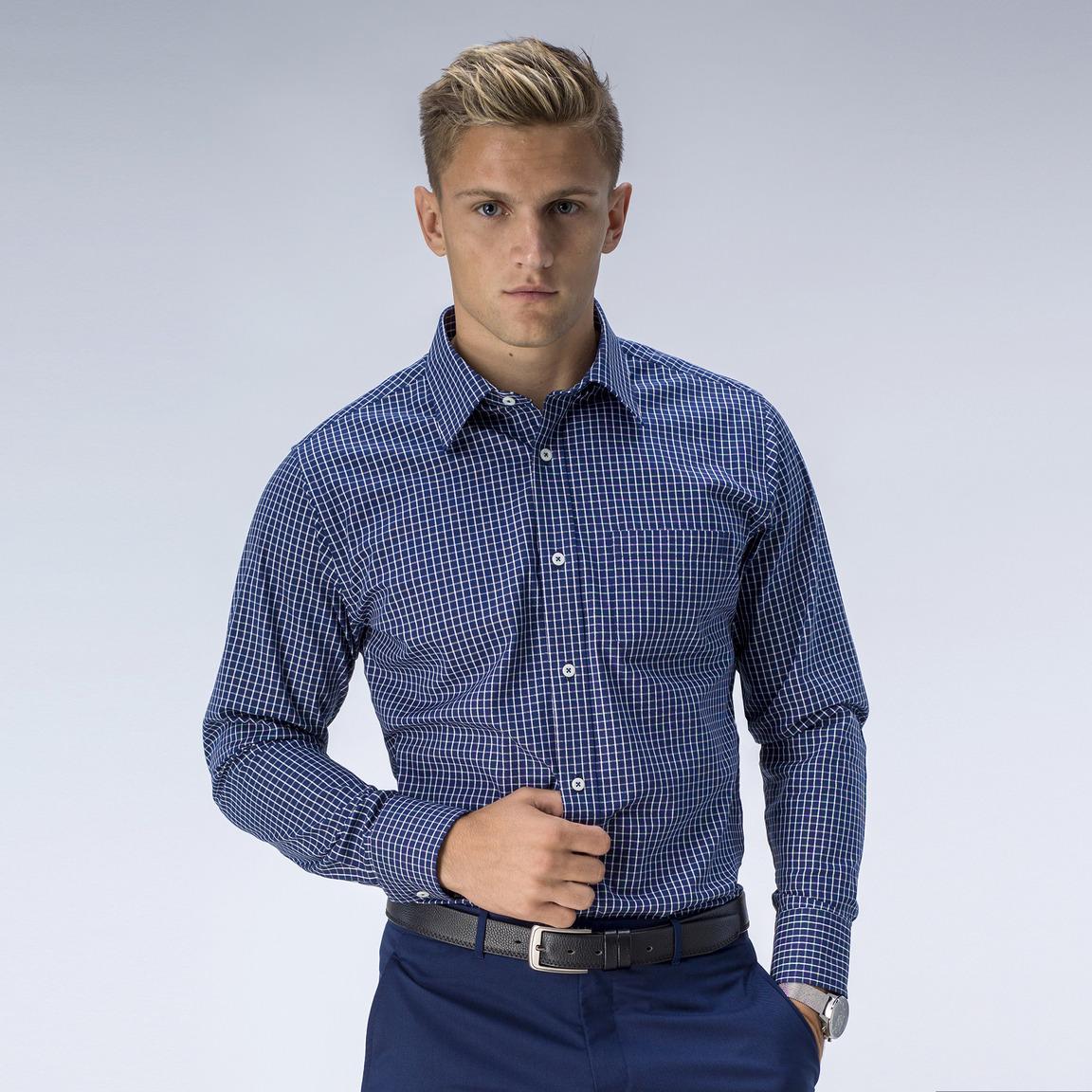 Marinblårutig oxfordskjorta