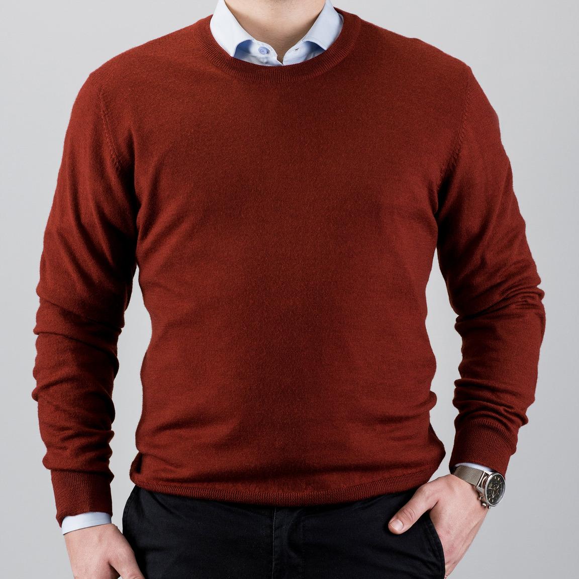 Pullover aus Merinowolle mit rundem Ausschnitt, rot