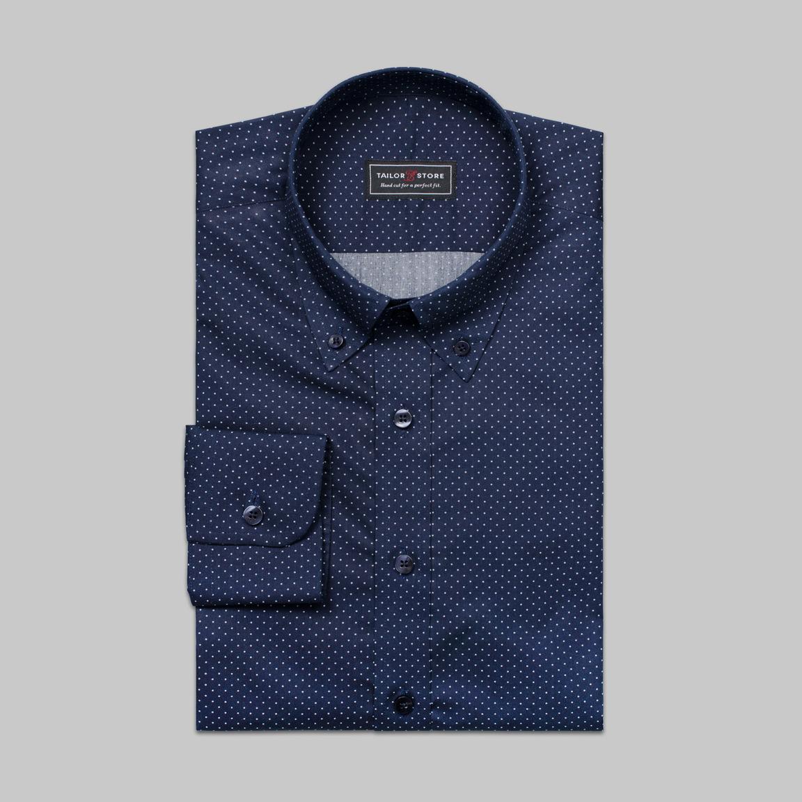 Marin/vitprickig button-downskjorta