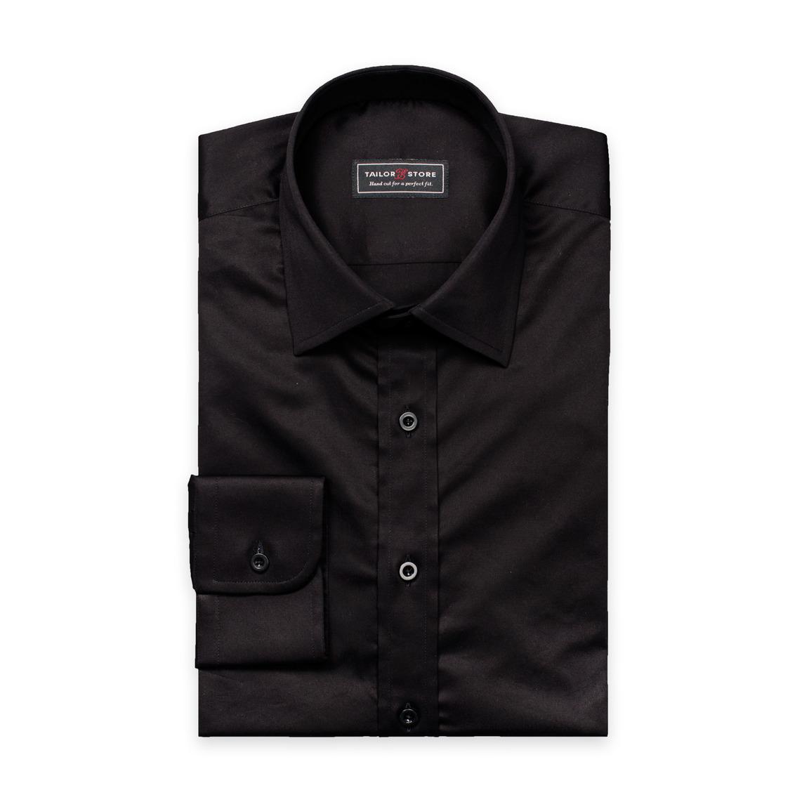 Zwart overhemd van katoen-satijn met business kraag