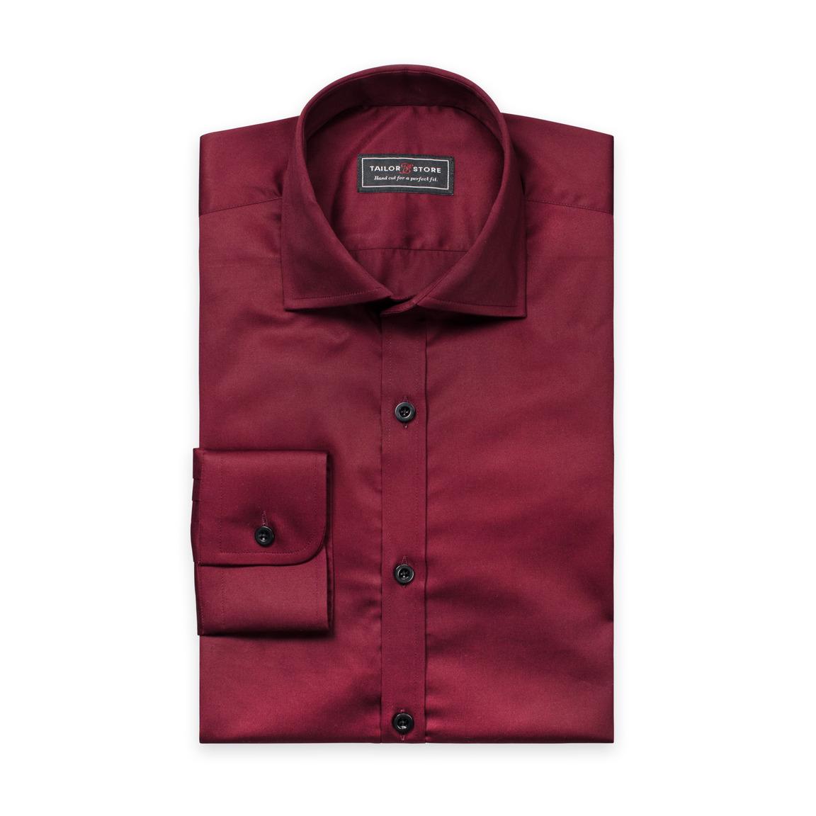 Burgundy cotton satin shirt