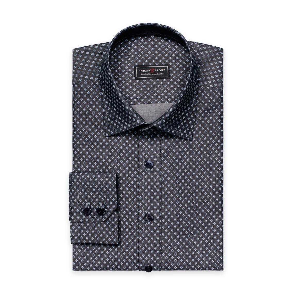 Svart/Ljusblåmönstrad skjorta