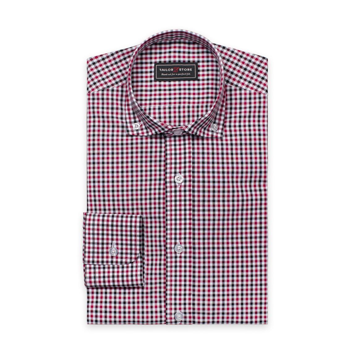 Weiß/schwarz/weinrot kariertes Hemd