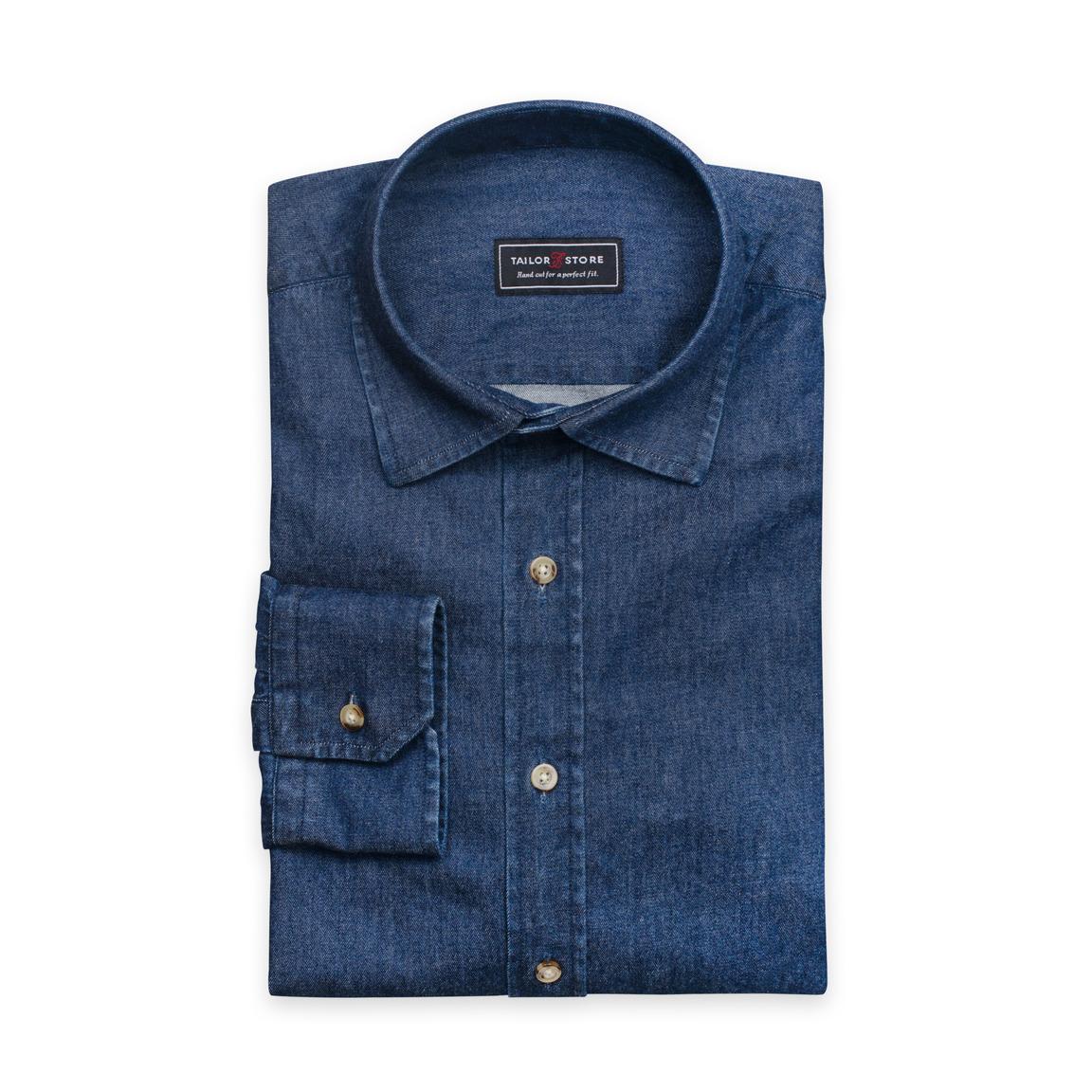 Dark blue denim shirt with business collar