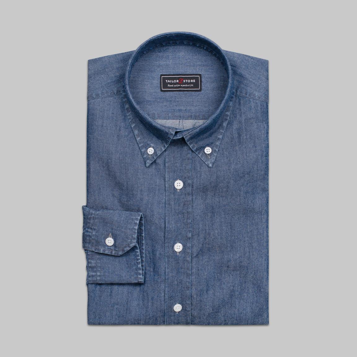 Dark blue denim dress shirt with button down-collar