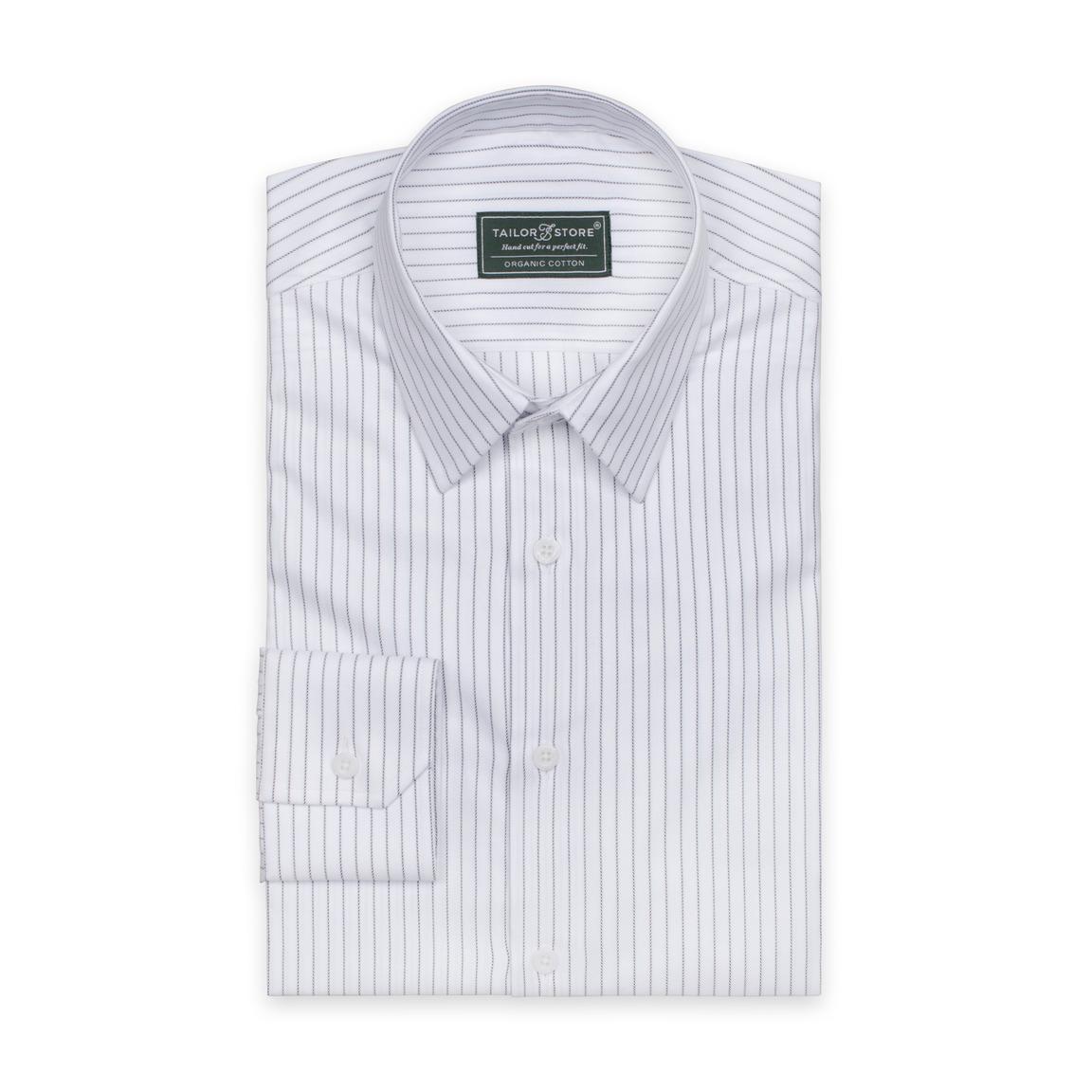 Organic dress shirt with thin black stripes