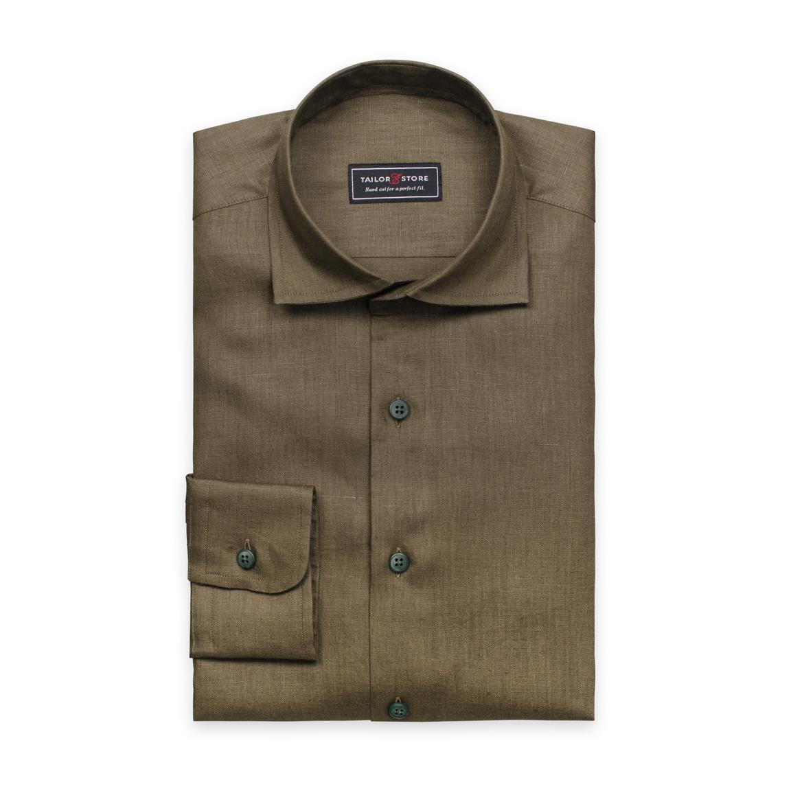 Linen dress shirt in military green