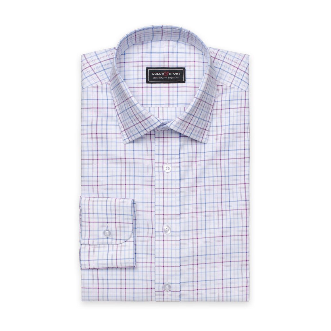 Purple White Blue Checked Oxford Shirt