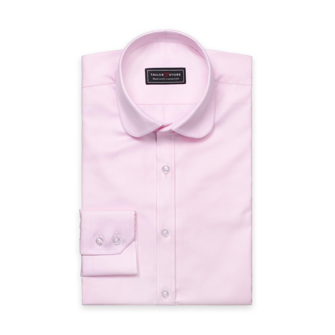 Roze twill overhemd met club kraag