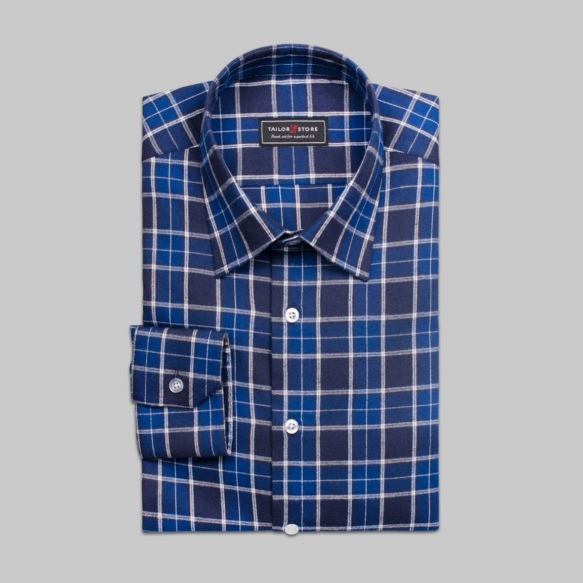 Tartan checked dress shirt in navy/black/white