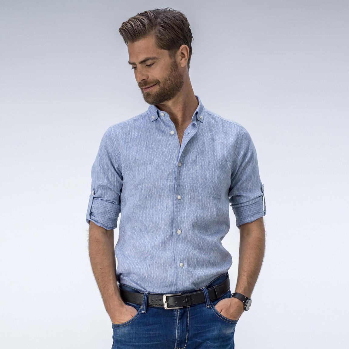 Elegant light blue linen dress shirt