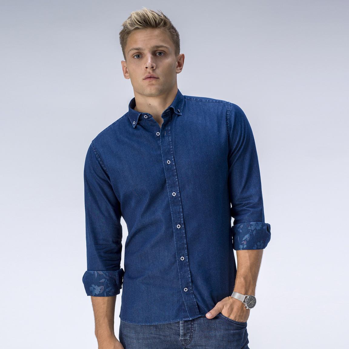 Jeansskjorta, blomstermönstrad avigsida
