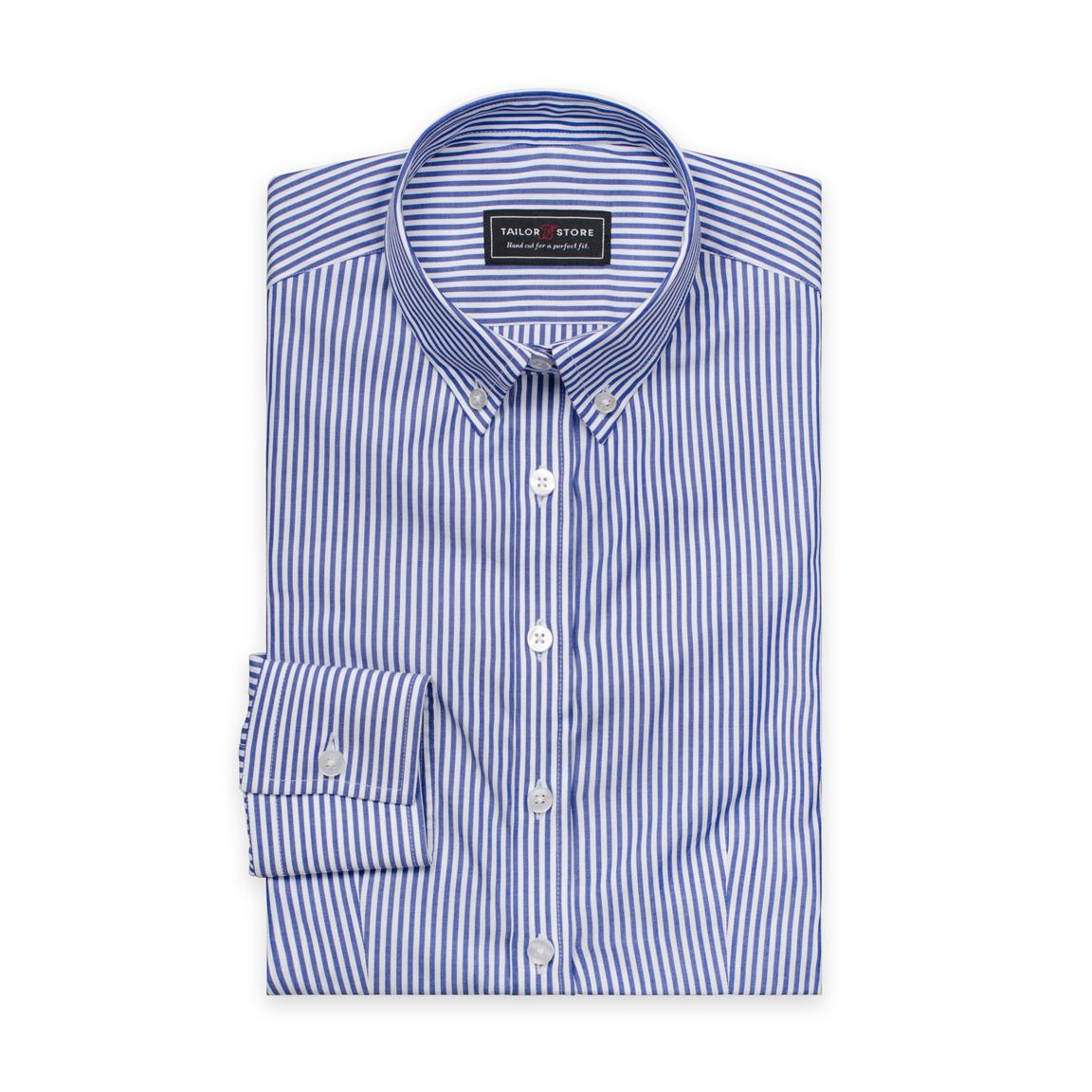 Vit/Mörkblårandig poplinskjorta