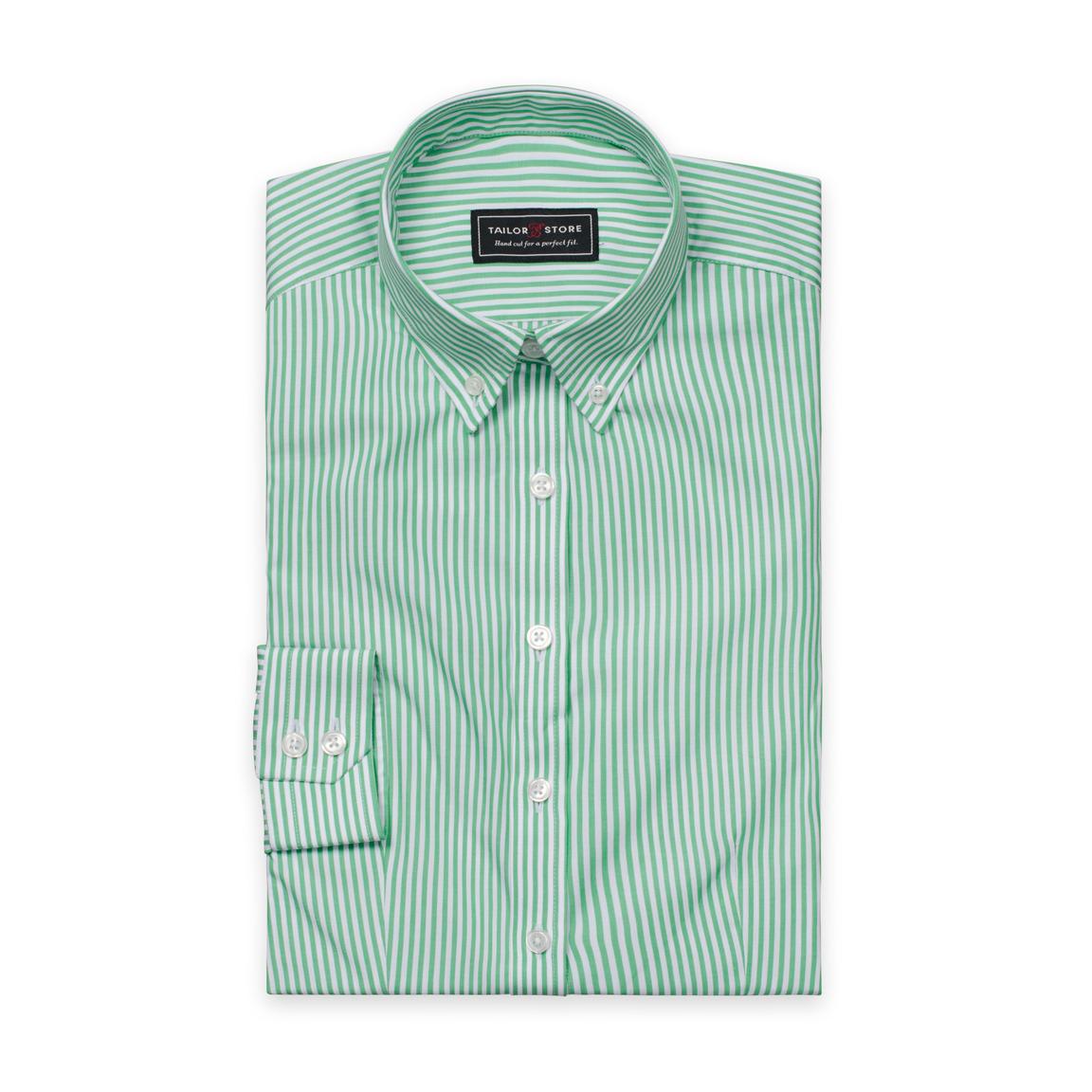 White Green Striped Poplin Shirt