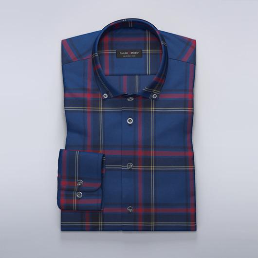 Chemise sur mesure à carreaux bleu et rouge