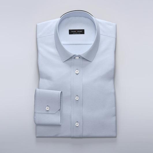 Light blue business dress shirt in wool blend<br>