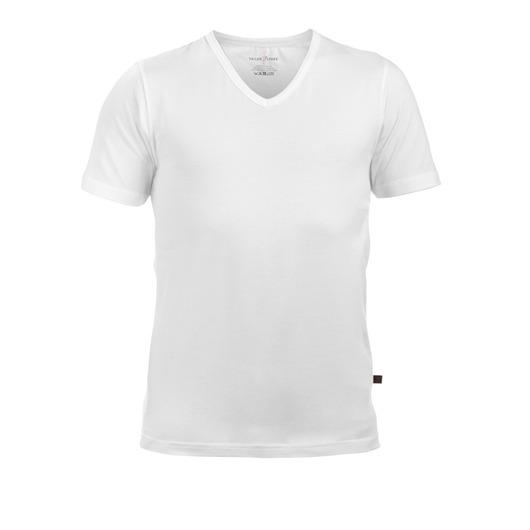 Vit v-halsad T-shirt i stretch, 2-pack
