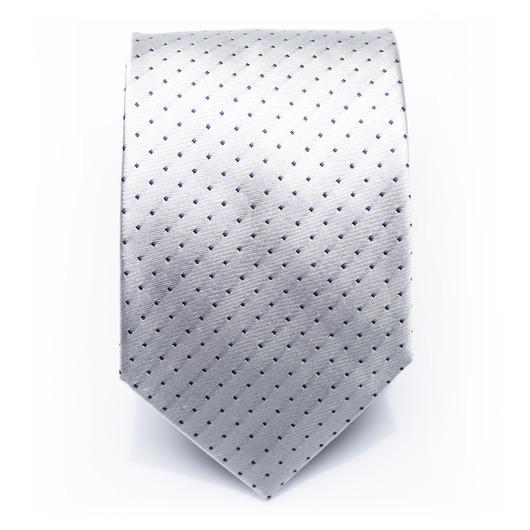 Fenwick Overcast - White/black dotted silk necktie