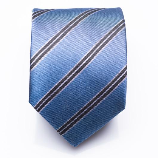 Barclay Azure - blau gestreifte Seidenkrawatte