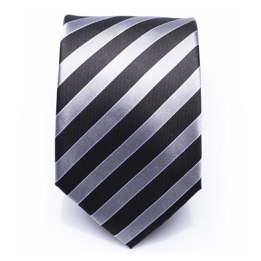 Hollindale Silver - silber/schwarz gestreifte Seidenkrawatte