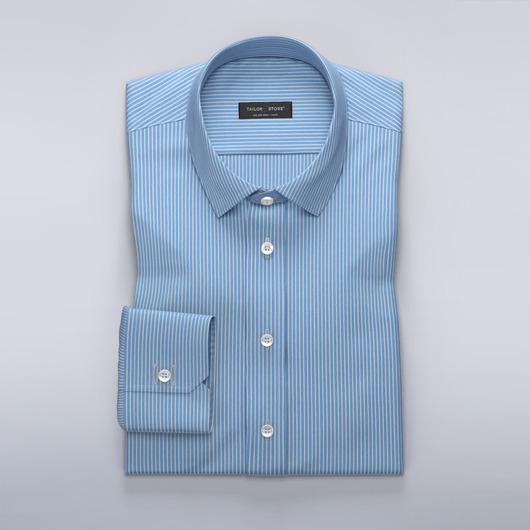 Ljusblå/vit-randig twillskjorta