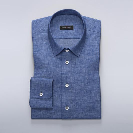 Blaues Leinenhemd mit Business Kragen