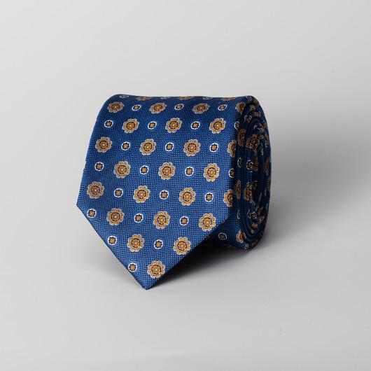 Blue flower silk tie