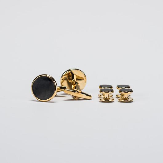 Set de goujons et de boutons de manchette (Noir et Or)