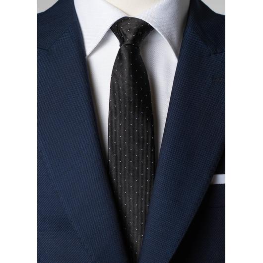 Czarny, jedwabny krawat w kropki