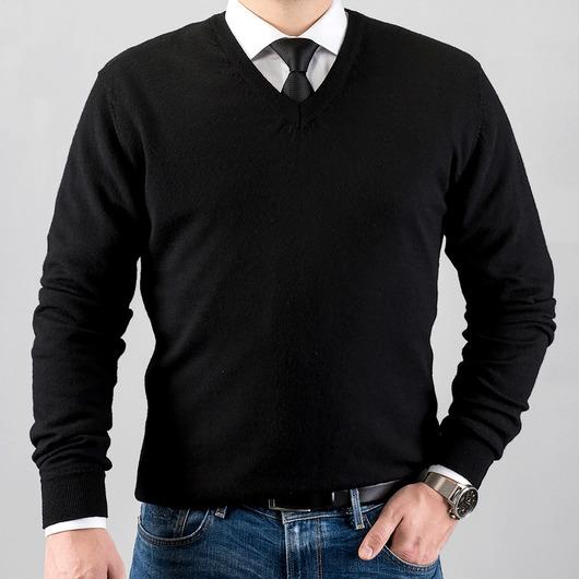 V-hals merino uld sweater, sort