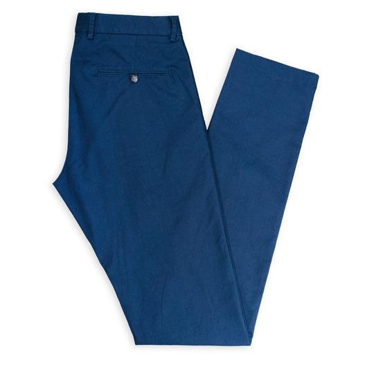 Donkerblauwe op maat gemaakte stretch chino's