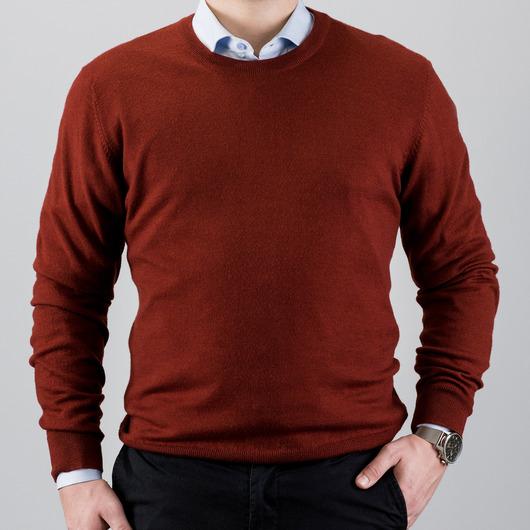 Merinovillainen pusero crewneck-kauluksella, punainen