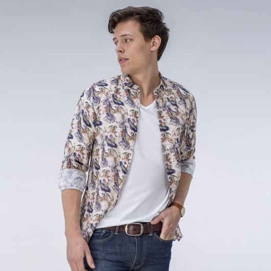 Édition Limitée, chemise beige à motifs en lin
