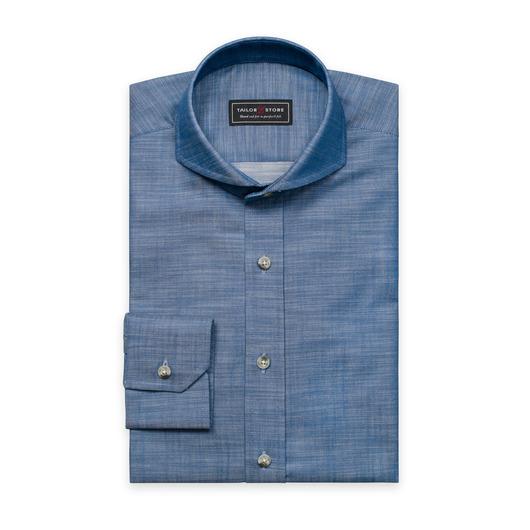 Blå slim fit-skjorta i chambray