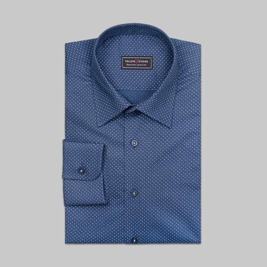 Marineblå skjorte med printet mønster