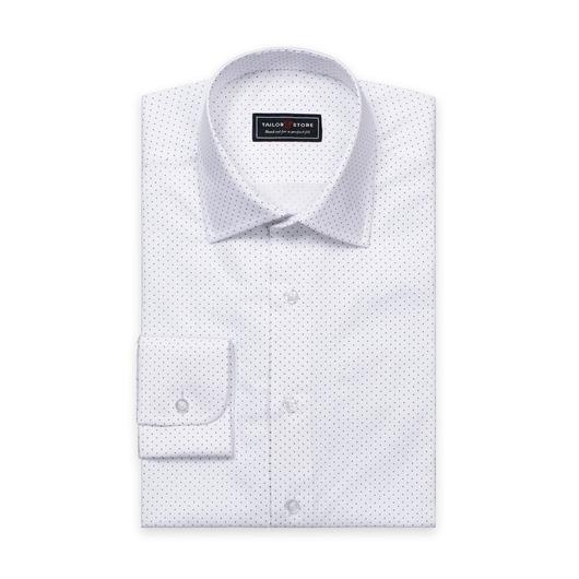 Wit/Navy gestippeld poplin overhemd