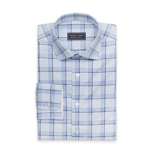 Lichtblauw geruit overhemd