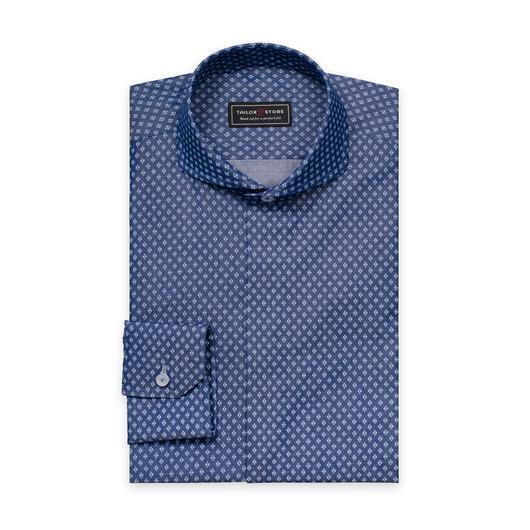 Blau/weiß gemustertes Hemd