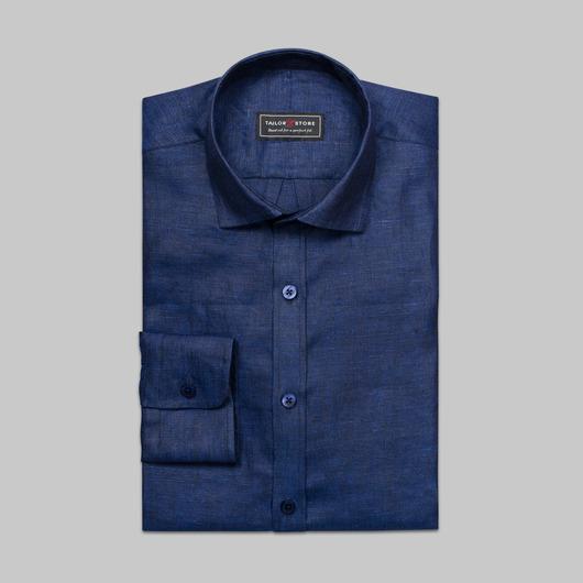 Marineblauw linnen overhemd