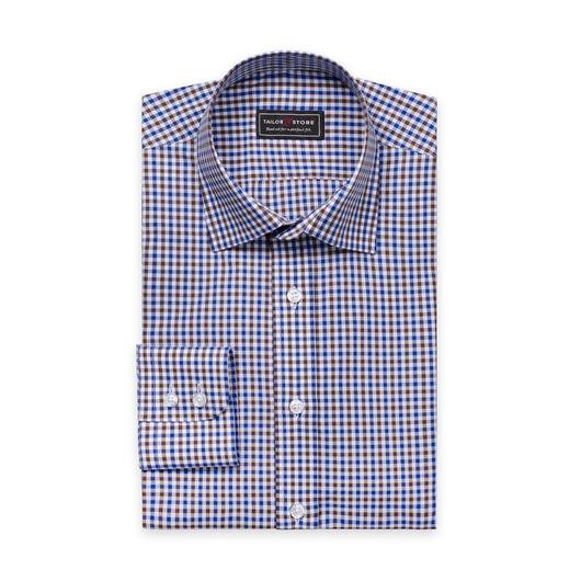 Koszula w brązowo-niebieską kratkę