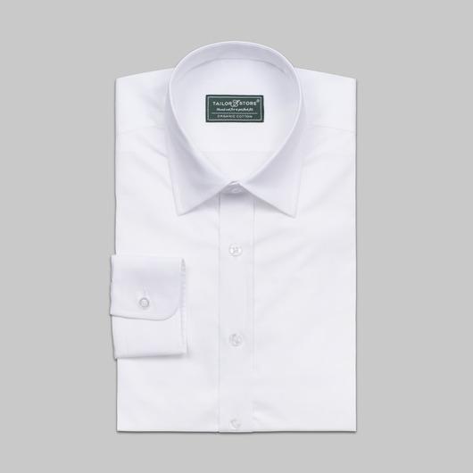 Biała ekologiczna koszula biznesowa o splocie płóciennym