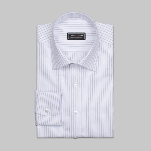 Vit/blårandig skjorta i ekologisk bomull