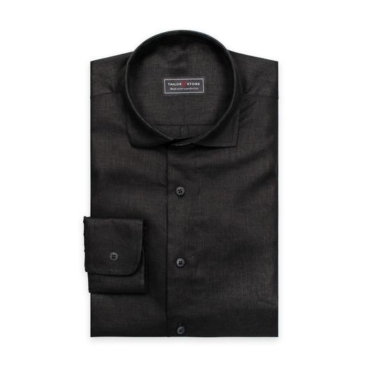 Schwarzes Leinenhemd mit cut-away Kragen