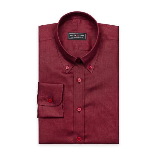 Rotes Leinenhemd mit Button-Down Classic Kragen