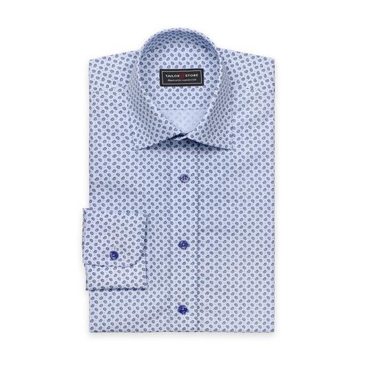 Blå paisleymönstrad poplinskjorta