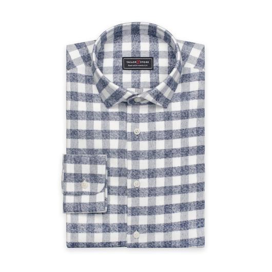 Tyk flannelskjorte i hvid med grå tern.